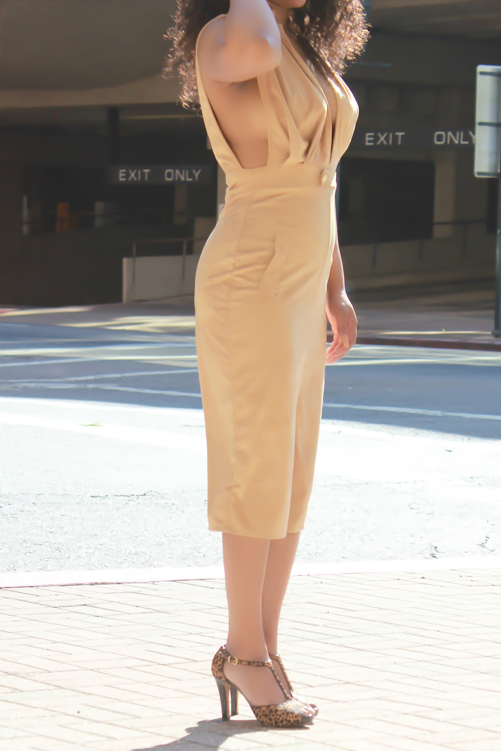 Camel Suede Dress - ARUZE BOUTIQUE