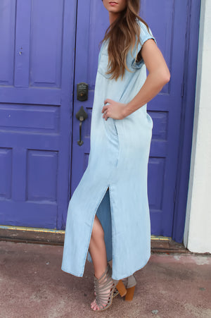Denim Maxi Dress - ARUZE BOUTIQUE