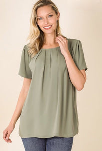 Short Sleeve Pleated Top Style 2639 in Black or Light Olive