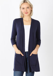 Open Cardigan with Pockets Style 1444 in Navy