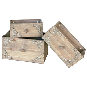 Gray Wash Rectangle Wood Drawers. Set Of 3