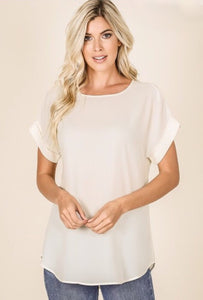 Boat Neck Rolled Sleeve Top Style 2500 in Cream