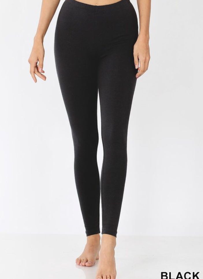 Premium Cotton Leggings Style 1251 in Black