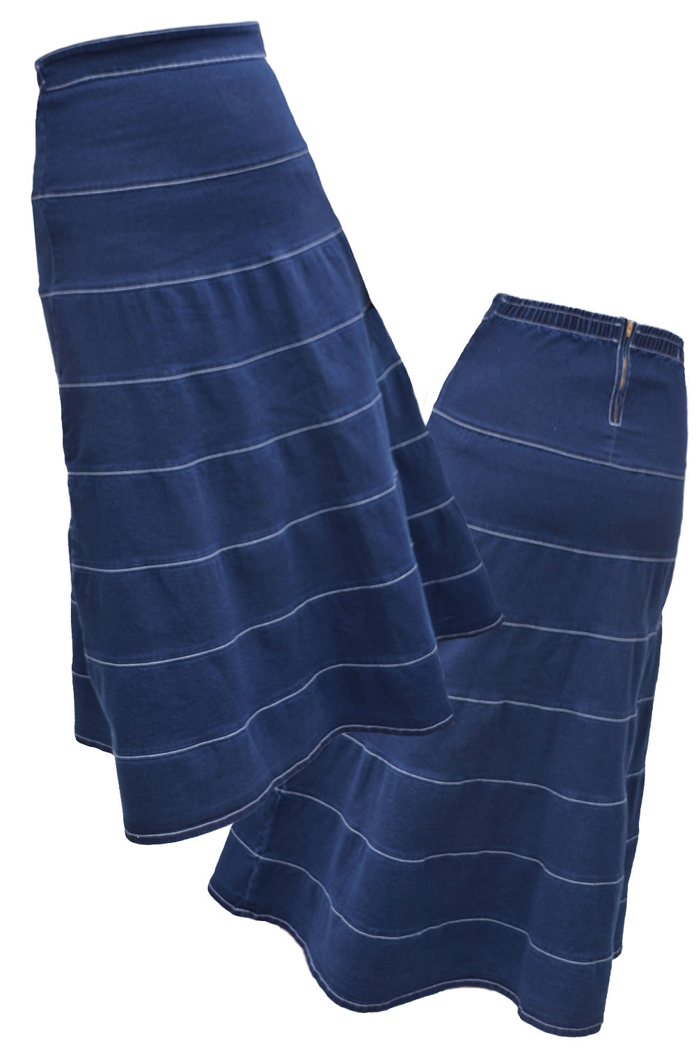 Long Tiered Denim Skirt Style 1487 - The Skirt Boutique