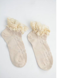 Lace Ancle Socks Ivory 4130 - The Skirt Boutique