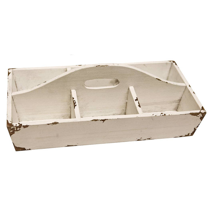 White Wood Tote With 6 Compartments