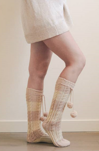 Knee High Striped Pom Pom Socks 5802 - The Skirt Boutique