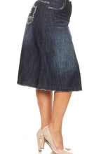 Plus Calf length A-Line skirt with faded bottom 77510X - The Skirt Boutique