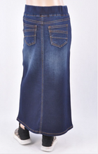 Girls Long Denim Skirt with elastic waistband  Style 87241 - The Skirt Boutique