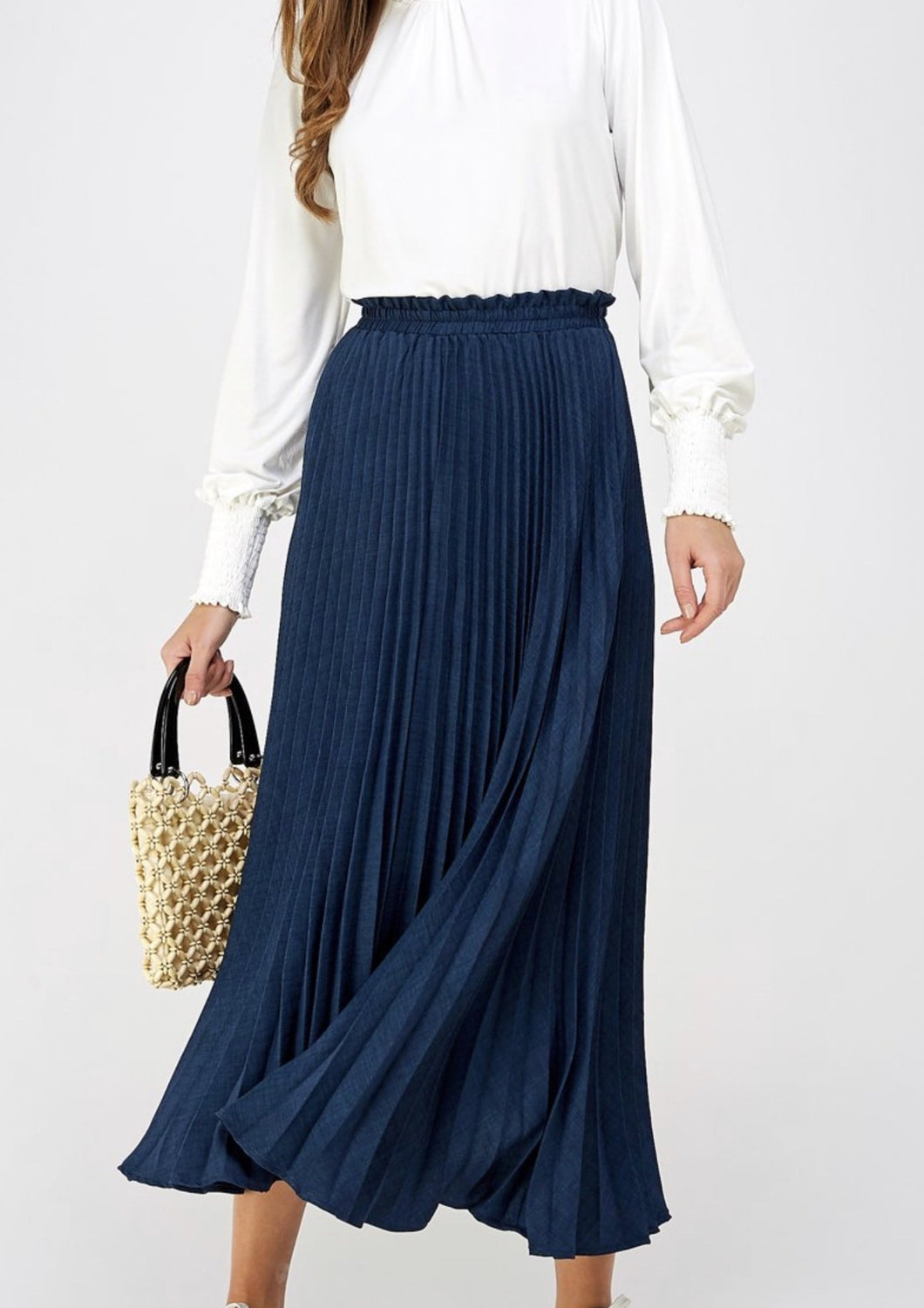 Faithful Washed Linen Pleated Skirt Style SK019 in Navy