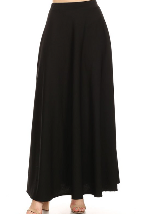 PLUS SIZE Solid Full Length A-Line Skirt 1811 - The Skirt Boutique