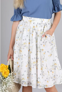 Full Floral Chiffon Skirt 18626 - The Skirt Boutique