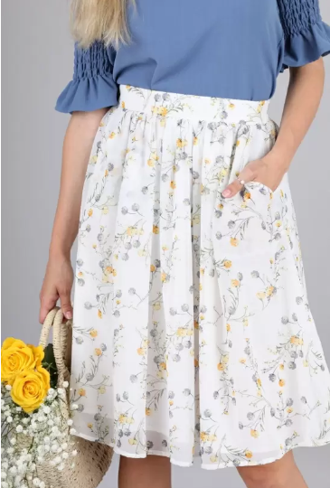 Full Floral Shiffon Skirt 18626 - The Skirt Boutique