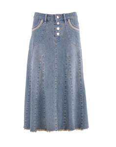 Lady Grace Calf Length Denim Skirt Style 0589 - The Skirt Boutique