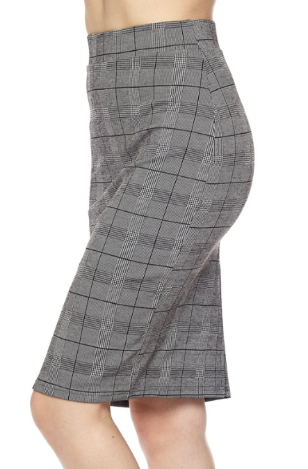 PLAID PENCIL SKIRT WITH BACK SLIT Style 1160 - The Skirt Boutique