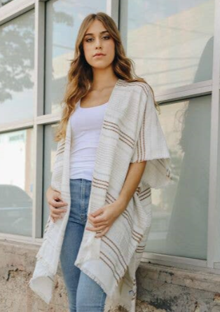 Cotton Stripe Kimono Grey 3955 - The Skirt Boutique