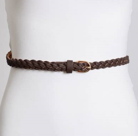Faux Leather Skinny Braided Belt 1516 - The Skirt Boutique