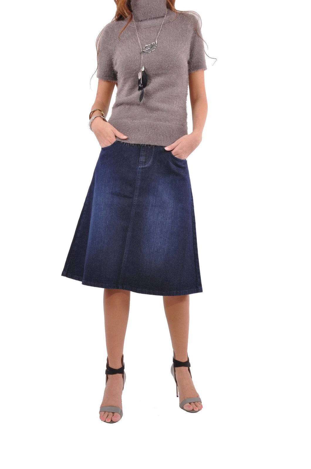 Simply Me Mid Length Denim Skirt Style 0581 - The Skirt Boutique