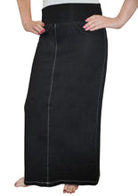 Long Denim Skirt with Stretch Waistband 1802 - The Skirt Boutique
