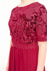 Velvet Contrast Maxi Dress Style 3296 in Wine