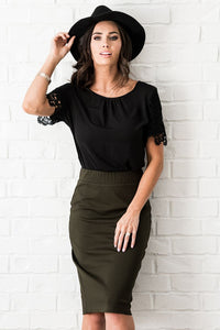 Olive Pontee Pencil Skirt W2093 - The Skirt Boutique