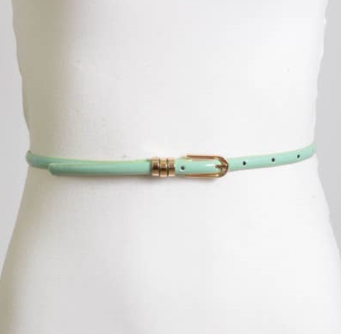 Patent Skinny Gold loop Belt 1080 - The Skirt Boutique