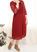 Pleated Midi Dress Style 2764 in Burgundy