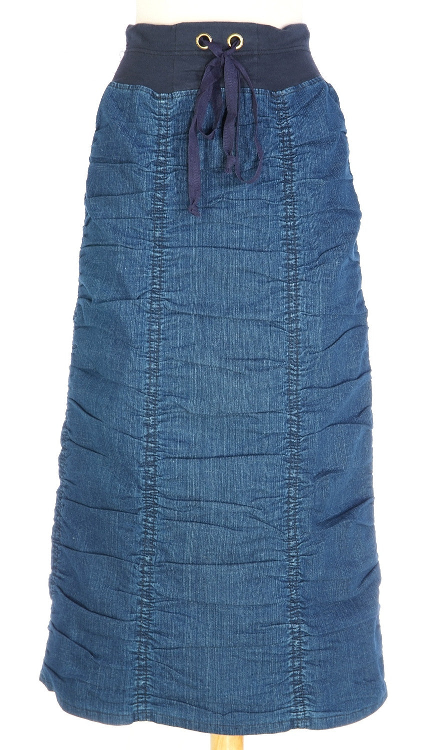Ruched Denim Long Skirt - The Skirt Boutique