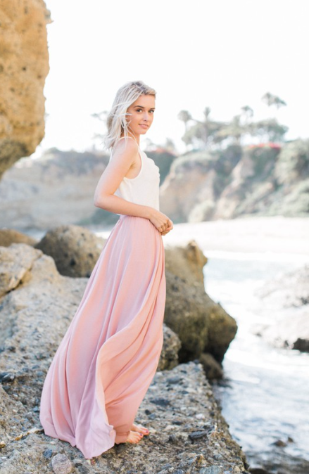 Dusty Pink Pleated Maxi Skirt 6384 - The Skirt Boutique