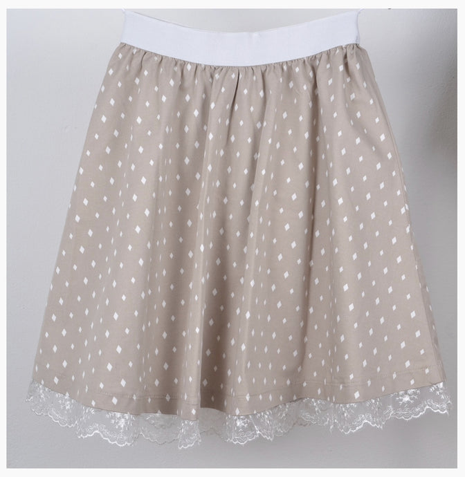 Girls Beige Skirt with Diamond Print Style 121-D-62