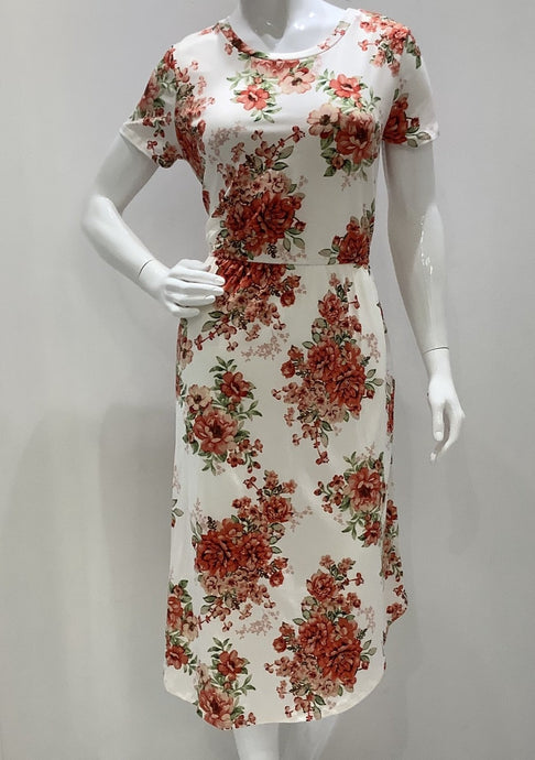 Ivory Floral Midi Dress Style 8187