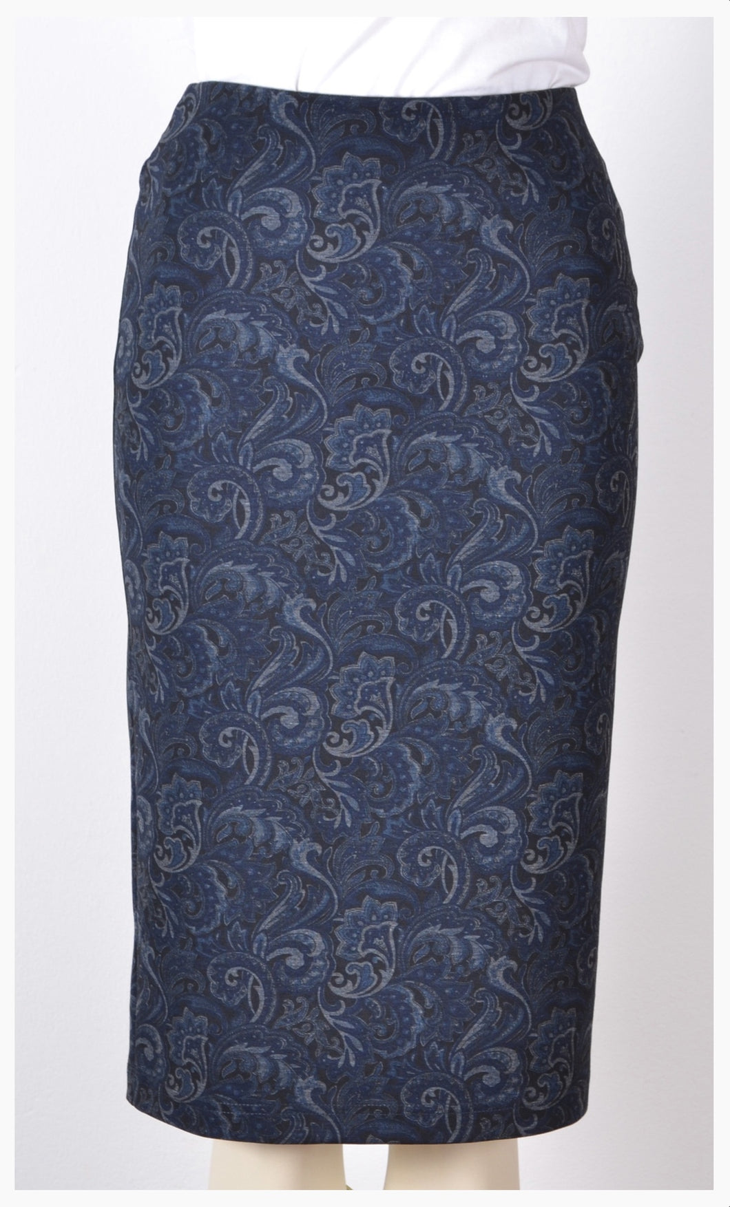 Blue Stretch Pencil Skirt with Print Style 14989
