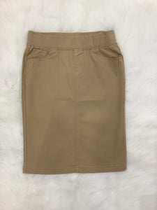 Plus Khaki Denim Skirt Style 77548X