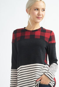 Long Sleeved Checkered Solid Striped Top Style 4385