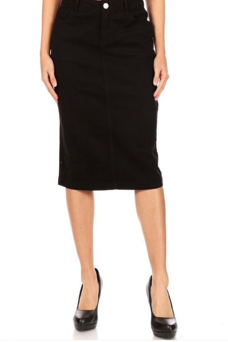 Black Denim Skirt Style 77546 - The Skirt Boutique