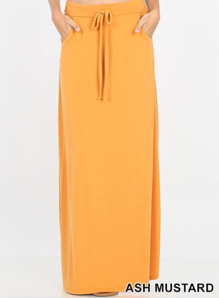Sport Skirt Maxi Style 2335 in Ash Mustard - The Skirt Boutique