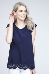 Navy Chiffon Top with cut-out Design Style 2440 - The Skirt Boutique