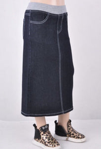 Girls Long Denim Skirt with Lycra Waistband Style 87309 - The Skirt Boutique