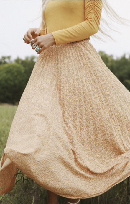 Joyous Maxi Pleated Skirt Style SK019 in Mustard or Black
