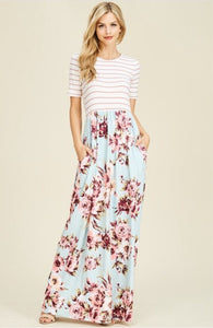 Mint Striped and  Floral Maxi Dress Style T8161 - The Skirt Boutique