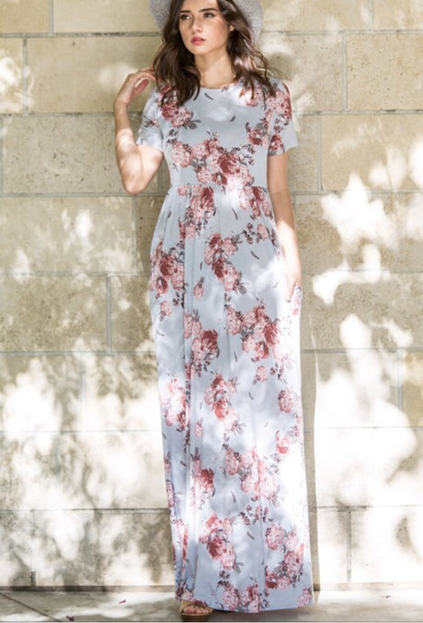 Silver Floral Maxi Dress Style 3515 - The Skirt Boutique