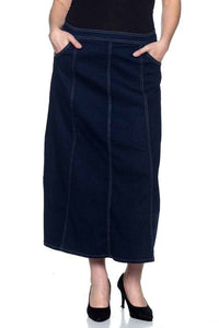 Panel Denim Skirt Style 86269 - The Skirt Boutique