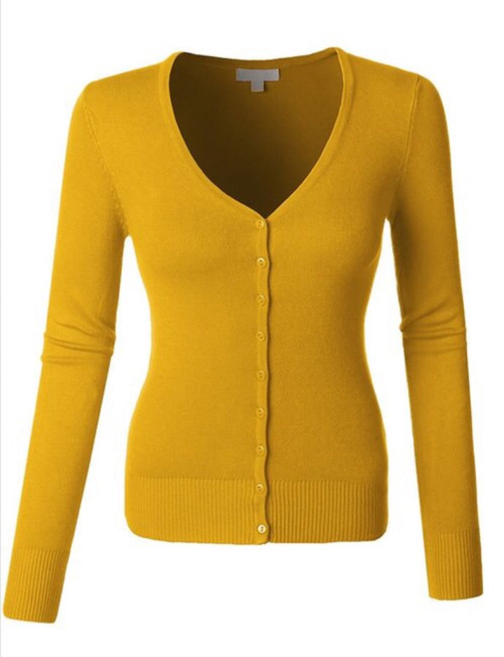 Mustard Cardigan Style WSK515 - The Skirt Boutique