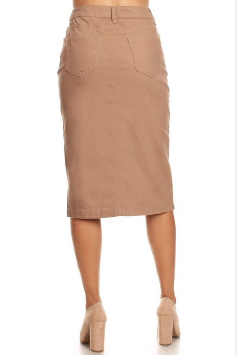 Khaki Denim Skirt Style 76418 - The Skirt Boutique