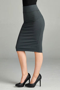Basic Ponte Pencil Skirt Style 2180 In Charcoal Grey - The Skirt Boutique