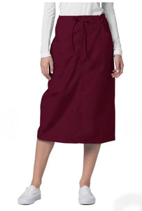 Medical Mid-Length Drawstring Scrub Skirt Burgundy