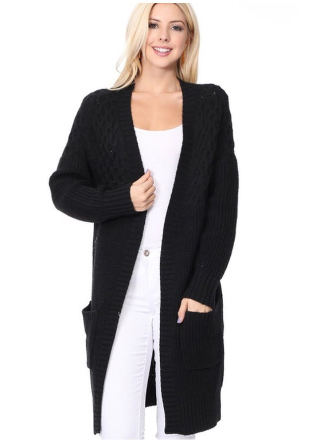 Open Front Textured Cardigan Style 9366 in Black