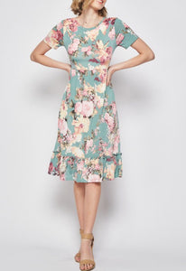Floral Midi Dress Style 3518 in mauve or mint - The Skirt Boutique
