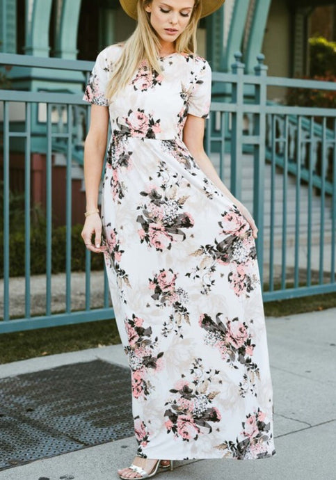 Ivory Floral Maxi Dress Style 3515 - The Skirt Boutique