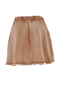Cute Flare Denim Skirt Style 0586 in Brown or Blue 0585 - The Skirt Boutique